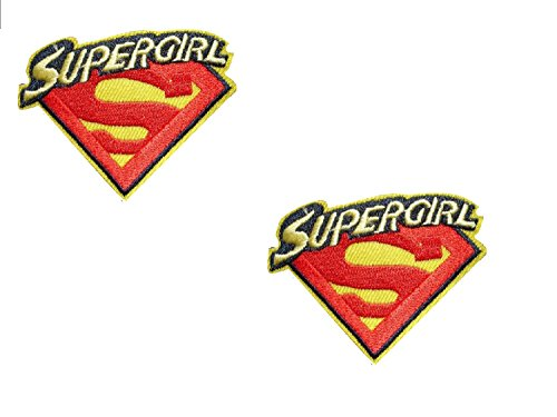 2 pieces Superhero Iron On Patch Embroidered Applique Motif Fabric Comics Movie Supergirl Decal 2.7 x 2.2 inches (7 x 5.5 cm)