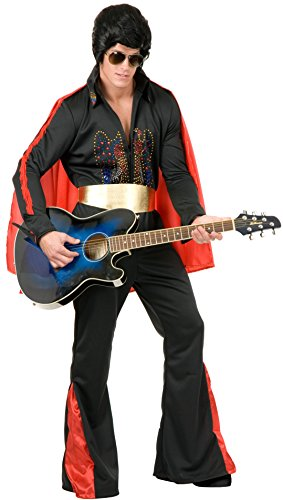 Charades Men's Rhinestone Rock Star Costume, Black, - Rock Star Rhinestone