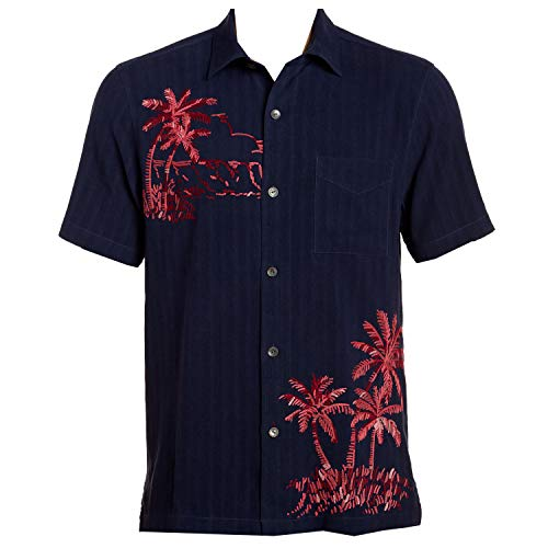 Tommy Bahama Front Embroidered Las Playa Palms Silk Camp Shirt (Color: Ocean Deep, Size L)
