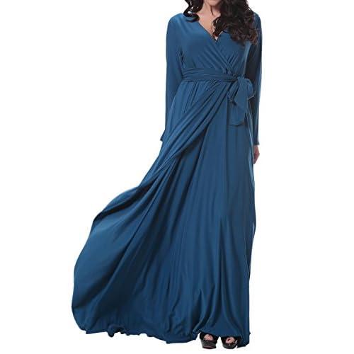 On Sale Suejoe Womens Plus Size Dresses Faux Wrap Long Sleeve Full