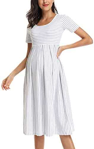 f51e651882b46 BBHoping Women's Summer Casual Striped Maternity Dress Short Sleeve Knee  Length Pregnancy Clothes for Baby Shower