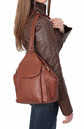 Damen Echtleder Rucksack 'ROME' Braun Organizer Rucksackhandtaschen 23x30x15cm