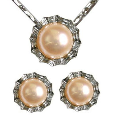 Crystal Circlet Cultured Pearl Silver Pendant Necklace & Earrings Set, Peach Pink (16