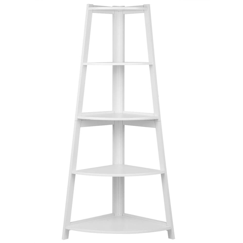 Zerone Corner Bookshelf, Fan Shaped Corner Ladder Bookcase 5-Tier Storage Organizer White Modern Ladder Display Rack Stand for Home Office
