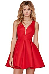 SheIn Women's Red Sleeveless Flare Deep V Neck Party Dress
