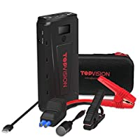 Portable Car Jump Starter, TOPVISION 2200A Peak Car Power Bank with USB Quick Charge 3.0 (Up to 8.0L Gas or 8L Diesel Engine), 12V Portable Auto Battery Booster Phone Charger Built-in LED Light