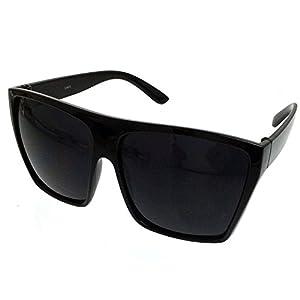 All Black Flat Top Oversized Square Kim Sunglasses (All Black, Black)