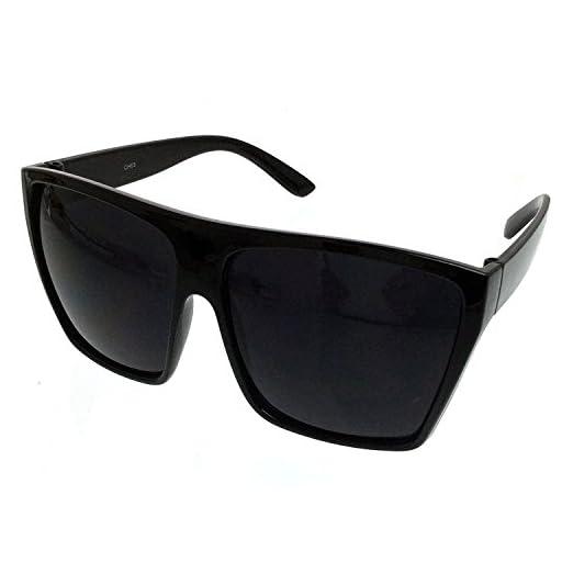 All Black Lemo Super Dark Flat Top Mob Oversized Rectangular Sunglasses