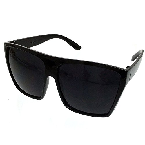 All Black Flat Top Oversized Square Kim Sunglasses (All Black, Black) ()