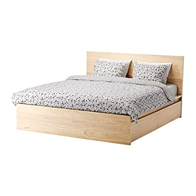 Ikea Full size High bed frame/4 storage boxes, white stained oak veneer, Luröy 30382.82314.614