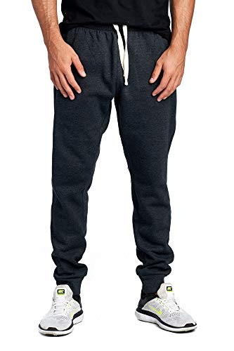 Slanted Pocket - PROCUBE USA ProCube Men's Casual Jogger Sweatpants Basic Fleece Marled Jogger Pant Elastic Waist (X-Large, Charcoal Grey (Slanted Pocket))