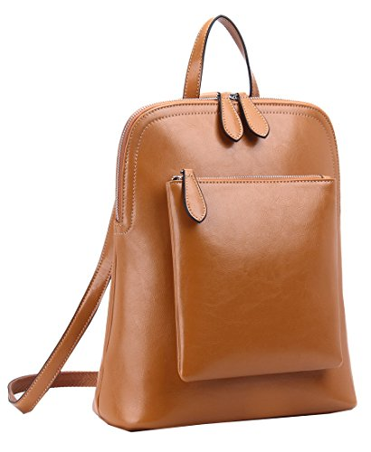 Heshe Women's Vintage Leather Backpack Casual Daypack for Ladies and Girls (Brown-R-D)