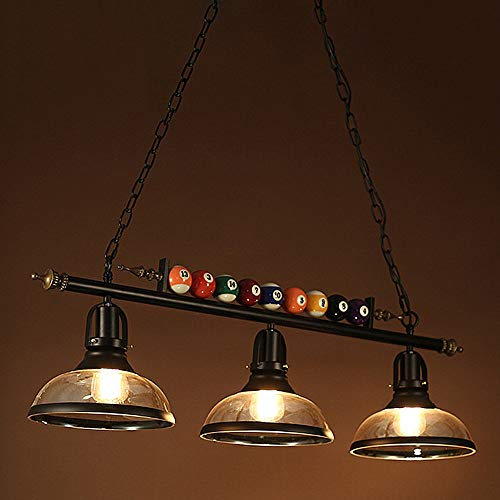 Ladiqi 3 Lights Island Light Hanging Pool Table Light Fixture Pendant Light with Clear Glass Shade Special Billiard Ball Decoration Chandelier for Gaming Room Living Room Kitchen