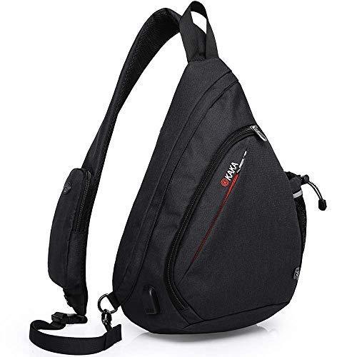 KAKA Sling Bag Crossbody Backpack Small Antitheft Sling Bag Waterproof Single Shoulder Bag for Men Women with USB Charging Port (Best Kaka Shoulder Bags)