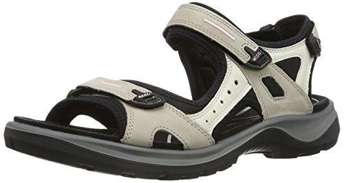 - ECCO Women's Yucatan outdoor offroad hiking sandal, Atmosphere/Ice White/Black, 10 M US