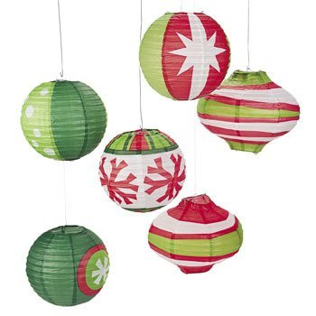 Fun Express Paper Ornament Party Lanterns -Red/Green/White (6 Pack) (Paper Lanterns Christmas)