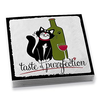 Taste of Purrfection Cat and Paw Print Napkins, 2 Packs of 20 Napkins Each