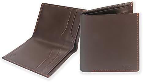 Mens Bilfold Slim Wallet , Ikepod High Line Wallet [Full-grain Leather] RFID Blocking [Slim Stitching!]