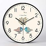 JYY Reloj de Pared Silencioso Elegante Redondo para Sala de Estar Dormitorio Cocina Pasillo Oficina,Fácil de Leer,3 Tamaños,3 Estilos (Color : Style02, Size : 14 Inch)