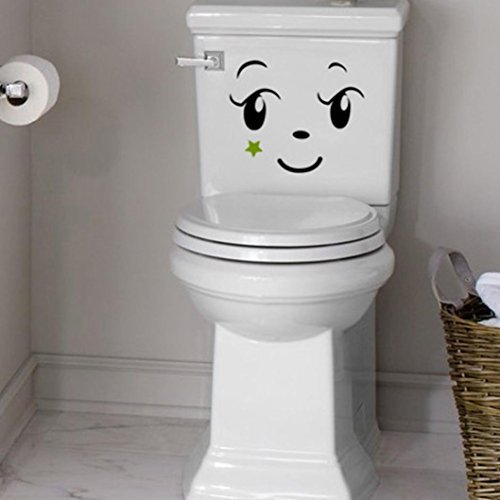 Wall sticker, Hatop Toilet Toilet Stuck Lovely Smiling Face Free To Stick Notebook Stick (A) by Hatop (Image #3)