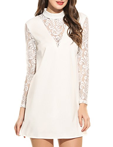 Zeagoo Women's Sheer Floral Lace Dress Stand Neck Long Sleeve Loose Shift Dress,White,Medium Navy Dinner Dress White