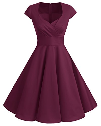 Bbonlinedress Women Short 1950s Retro Vintage Cocktail Party Swing Dresses Burgundy L