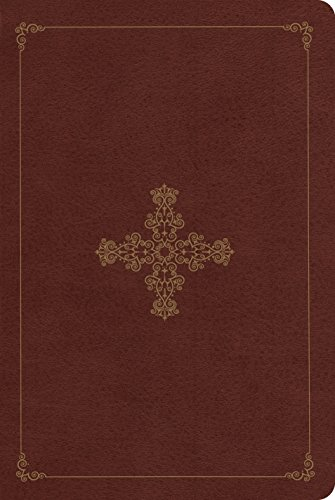 (ESV Single Column Personal Size Bible (TruTone, Deep Brown, Ornate Cross Design))