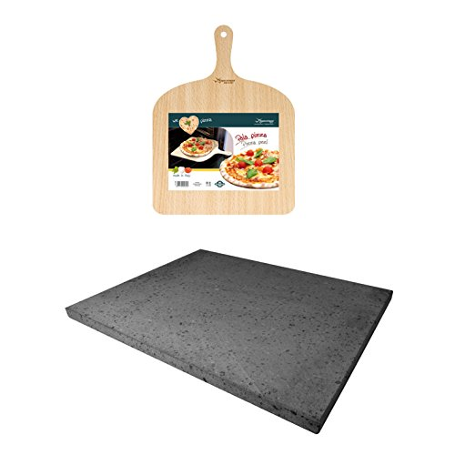 (Eppicotispai Pizza Set with Cooking Stone and Pizza Peel, Silver)