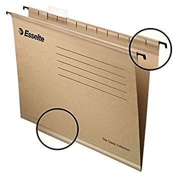 Esselte 93291 Classic - Carpeta colgante reforzada, Tamaño folio, Cartón kraft reciclado, Visor de plástico transparente, Natural, Caja de 50: Amazon.es: ...