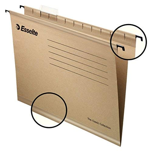 - Esselte 93290-Pack of 50Suspension File Reinforced with Transparent Plastic Visor, A4, Natural Colour