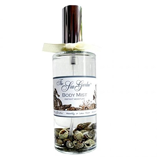 Sprinkles Gifts Kiss Me in the Sea Garden 4 oz Moisturizing Waterlily Lotus Body Mist In Glass With Sea Shells