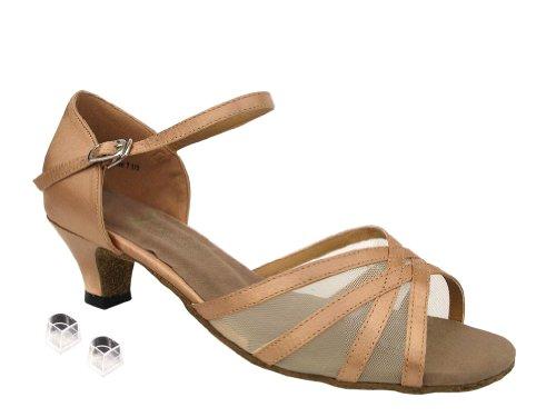 Très Bien Dames Femmes Chaussures De Danse De Salon Ek6027 Avec 1,3 Talon Brun Satiné Et Chair Mesh