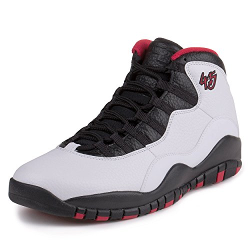 """Nike Mens Air Jordan Retro 10 """"Double Nickle"""" White/Black-True Red Leather Size 13 Basketball Shoes"""