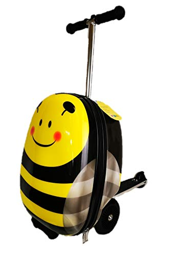 """KiMAX Kid's Luggage Scooter (Size: 18"""") – Honey Bee Suitcase Scooter for Kids"""