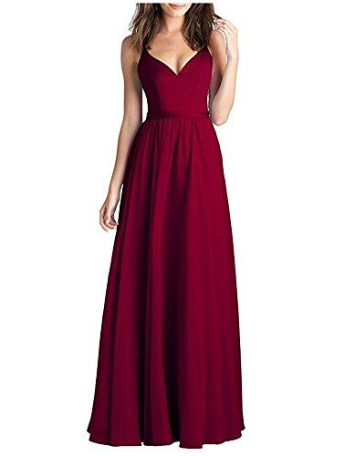 Evening V Dresses Long Gown Chiffon Neck Bridesmaid Burgundy Party Prom Burgundy x0fqd1BRn0