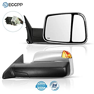 ECCPP Side Mirror Replacement for 2010 Dodge RAM 1500 2500 3500 Pickup 2011-2015 Dodge RAM 1500 2500 3500 Chrome Power Heated Puddle Signal Light Tow Mirrors: Automotive