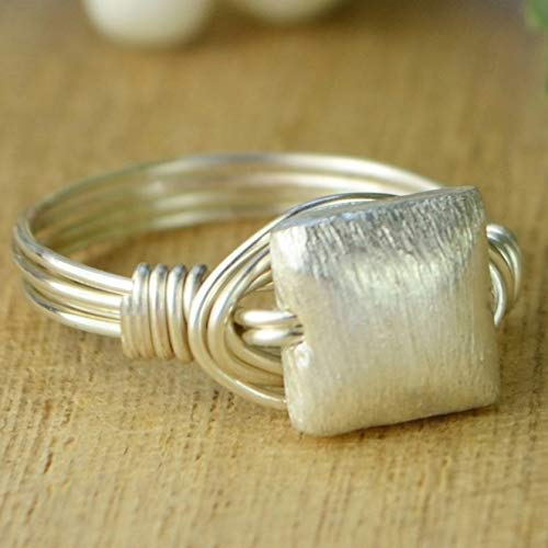 - Sterling Silver Brushed Square Bead with Sterling Silver, Yellow or Rose Gold Filled Wire Wrapped Ring- Custom made to size 4-14