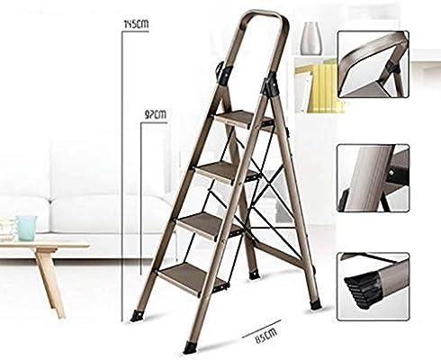 Escalera plegable de aluminio, con pasamanos antideslizante, escalera de 4 peldaños para hogar, cocina, oficina, almacén: Amazon.es: Bricolaje y herramientas