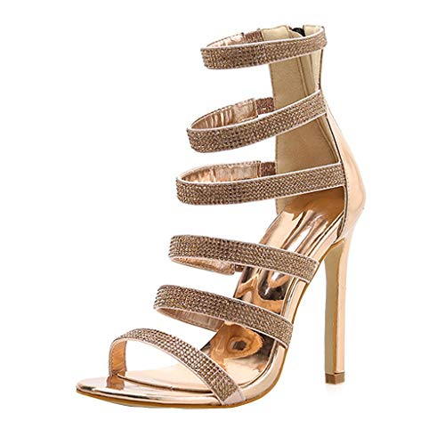High Heels Sandals,Women Rhinestones Hollow Open Toe Stiletto Heel Back Zipper Shoes Brown