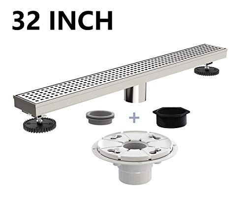 Ushower Stainless Steel Linear Drain 32 Inch with Shower Drain Base, Grate Cover Linear Floor Drain Brushed Nickel, Rectangle Shower Bathroom Drain with Leveling Feet, Threaded Adapter