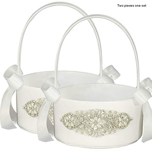 LAPUDA Bridal Decorative Wedding Supplies Flower Girl Baskets with Shining Diamonds, Delicate and Shining,Two Pieces one Set Style HL0253 (White)