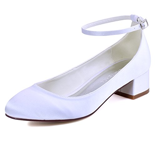 Elegantpark Women Closed Toe Chunky Heel Ankle Strap Pumps Satin Evening Wedding Shoes White dHaXZCu7Fl
