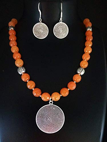 - Artisan Silver Filigree Pendant and Earrings Set Orange Bead Necklace