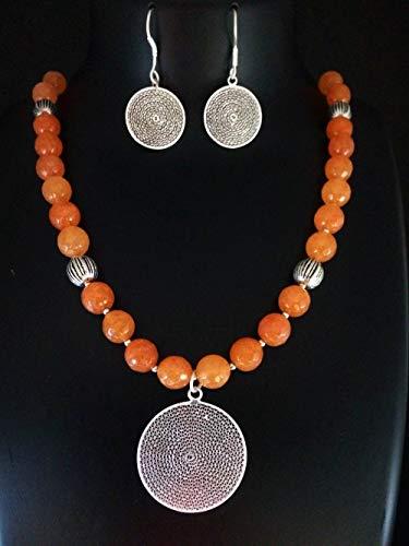 - Artisan Silver Filigree Pendant and Earrings Set Orange Bead Necklace