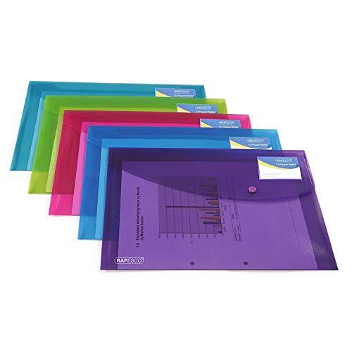 Rapesco documentos - Carpeta portafolios A4+ con soporte para tarjeta, colores traslucidos. 5 unidades