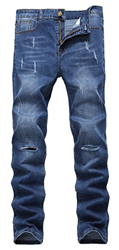 Wholesale Fashion Jeans (Men's Blue Skinny Slim Fit Ripped Distressed Straight Denim Jeans)