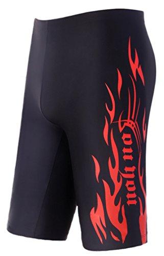 WUAMBO Swimwear Men's Swim Jammer Shorts Red US X-Small Waist 26