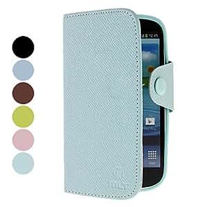 HOR Diseño de madera del grano pu estuche de cuero con ranura para tarjeta para Samsung Galaxy S3 I9300 (colores surtidos) , Azul Claro