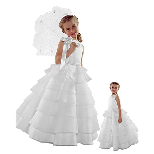 ST244 Flower Girl Wedding Layers Sleeveless Dress Baby to Teen (4, White)