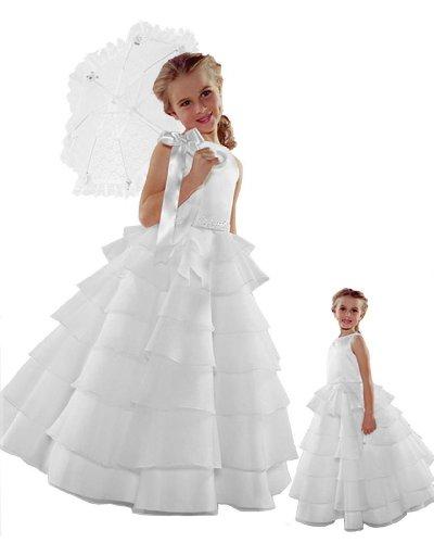 ST244 Flower Girl Wedding Layers Sleeveless Dress Baby to Teen (4, -